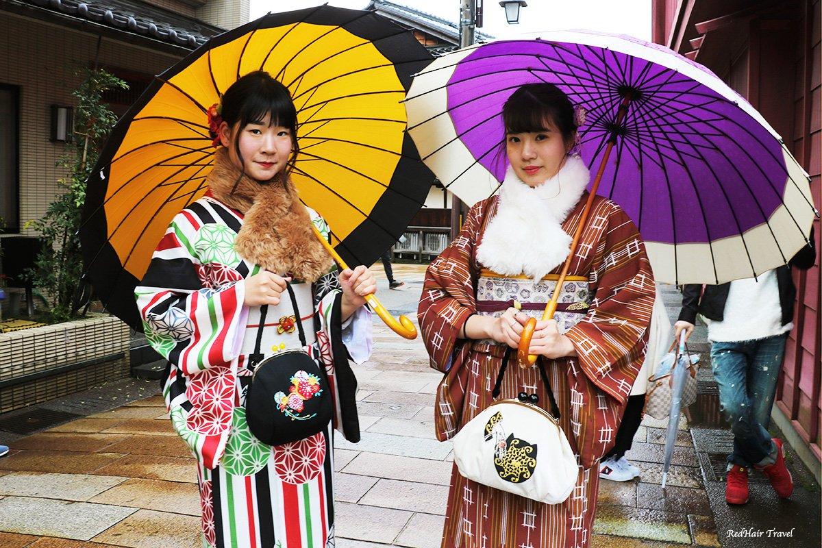 аренда кимоно, Канадзава, чайный район