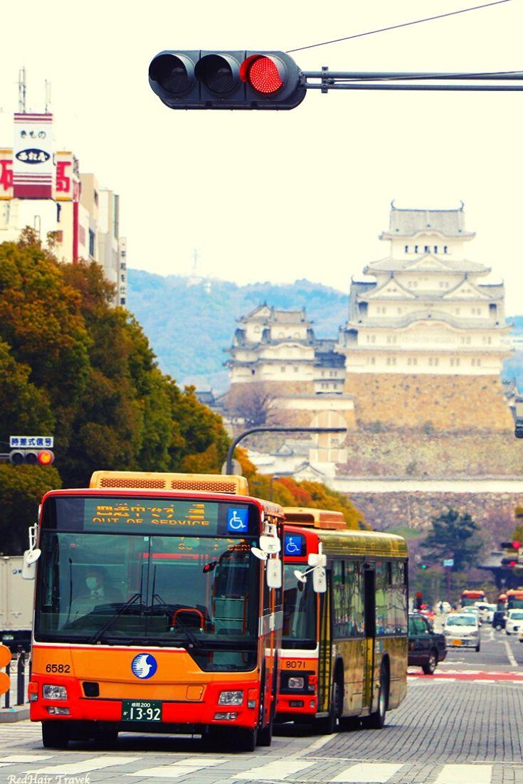 вид на Химедзи со станции, Япония